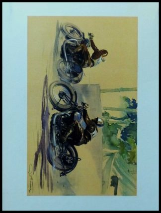 "(alt=""Original vintage poster of a Motorcycle race on Brough Superior circa 1930 signed in the plate by GEO HAM and printed by Baratand Courteau"")"