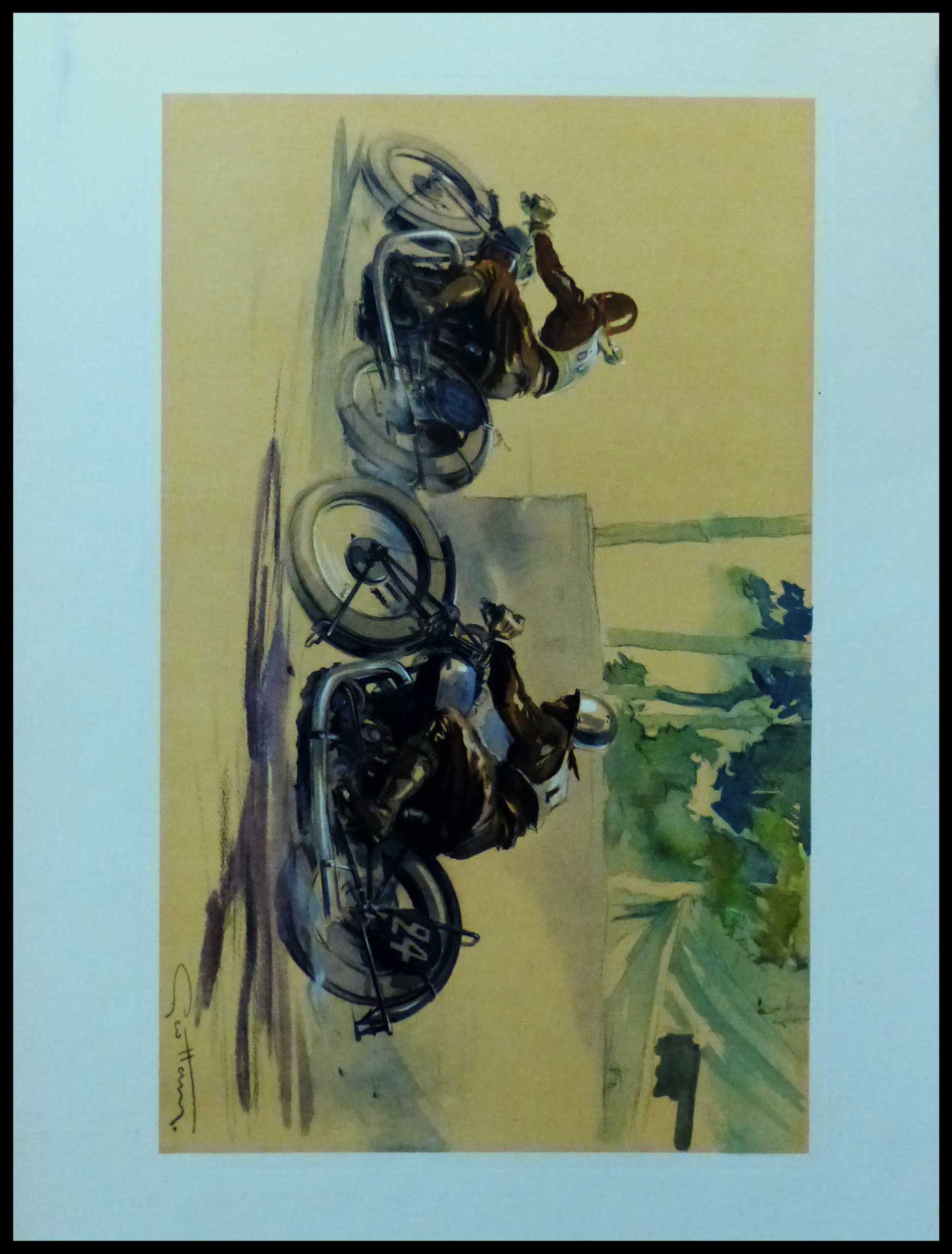 """(alt=""""Original vintage poster of a Motorcycle race on Brough Superior circa 1930 signed in the plate by GEO HAM and printed by Baratand Courteau"""")"""