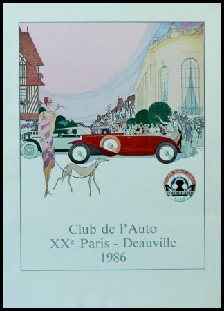 "(alt=""Original vintage car poster Club de l'Auto XXth Paris Paris Deauville 1986 realised by Marcus and printed on Velin d'Arches paper by Arte"")"