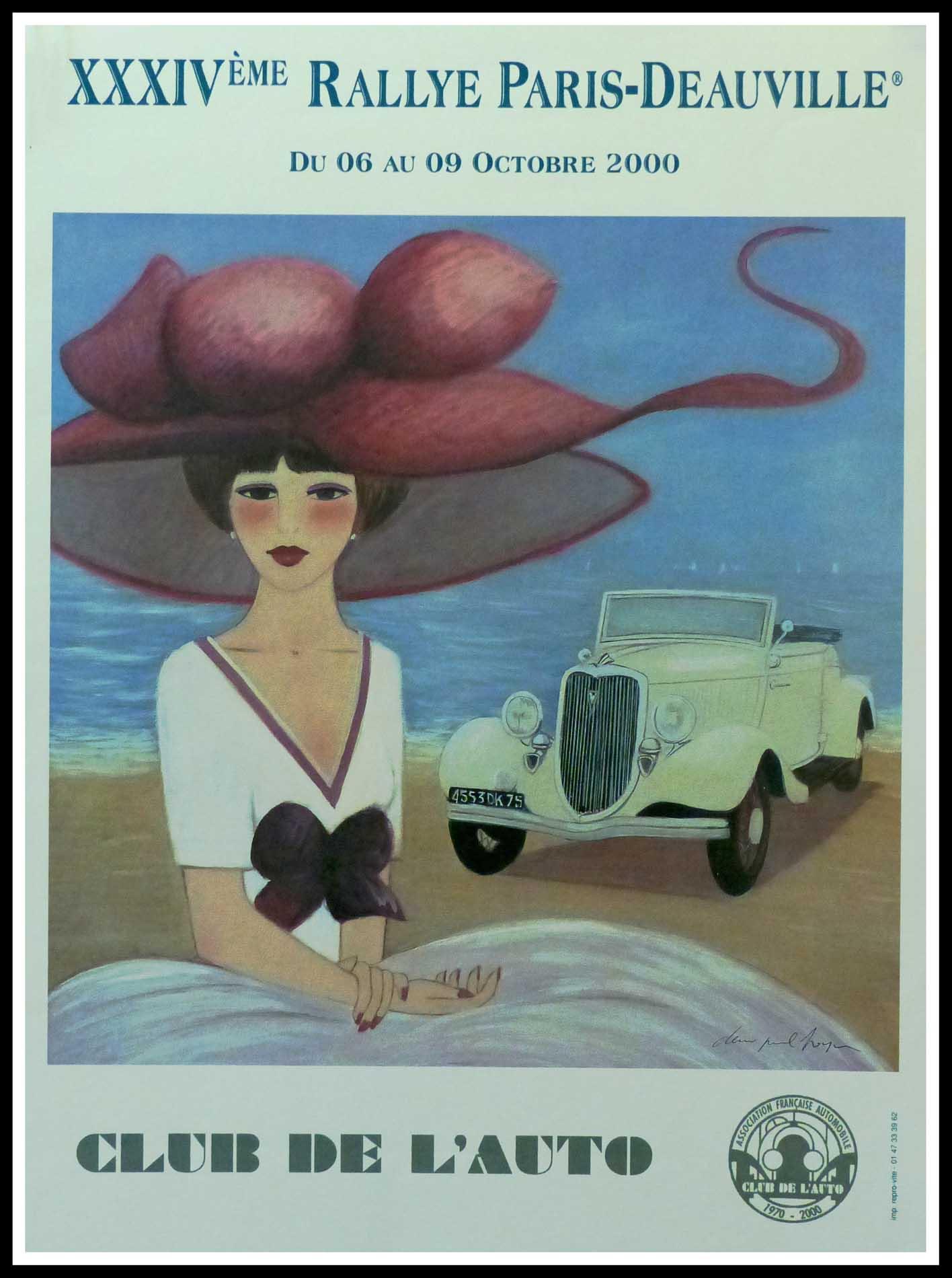 """(alt=""""Affiche originale XXXIVth Paris-Deauville 2000 Club de l'Auto signée dans la planche par D.P.Noyer et imprimée sur du papier Velin d'Arches par Repro vite"""")"""