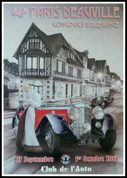 "(alt=""Original vintage car poster 46th Paris-Deauville, concours d'élégance 2012 Club de l'Auto hand signed by F.Bruère and printed by Club de l'Auto"")"
