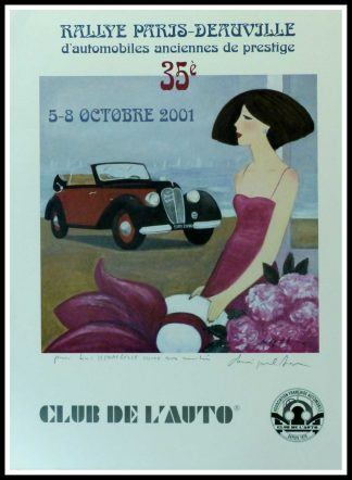 "(alt=""Original vintage car poster 35th Paris-Deauville 2001 Club de l'Auto hand-signed in the plate by D.P.Noyer and printed by Club de l'Auto"")"