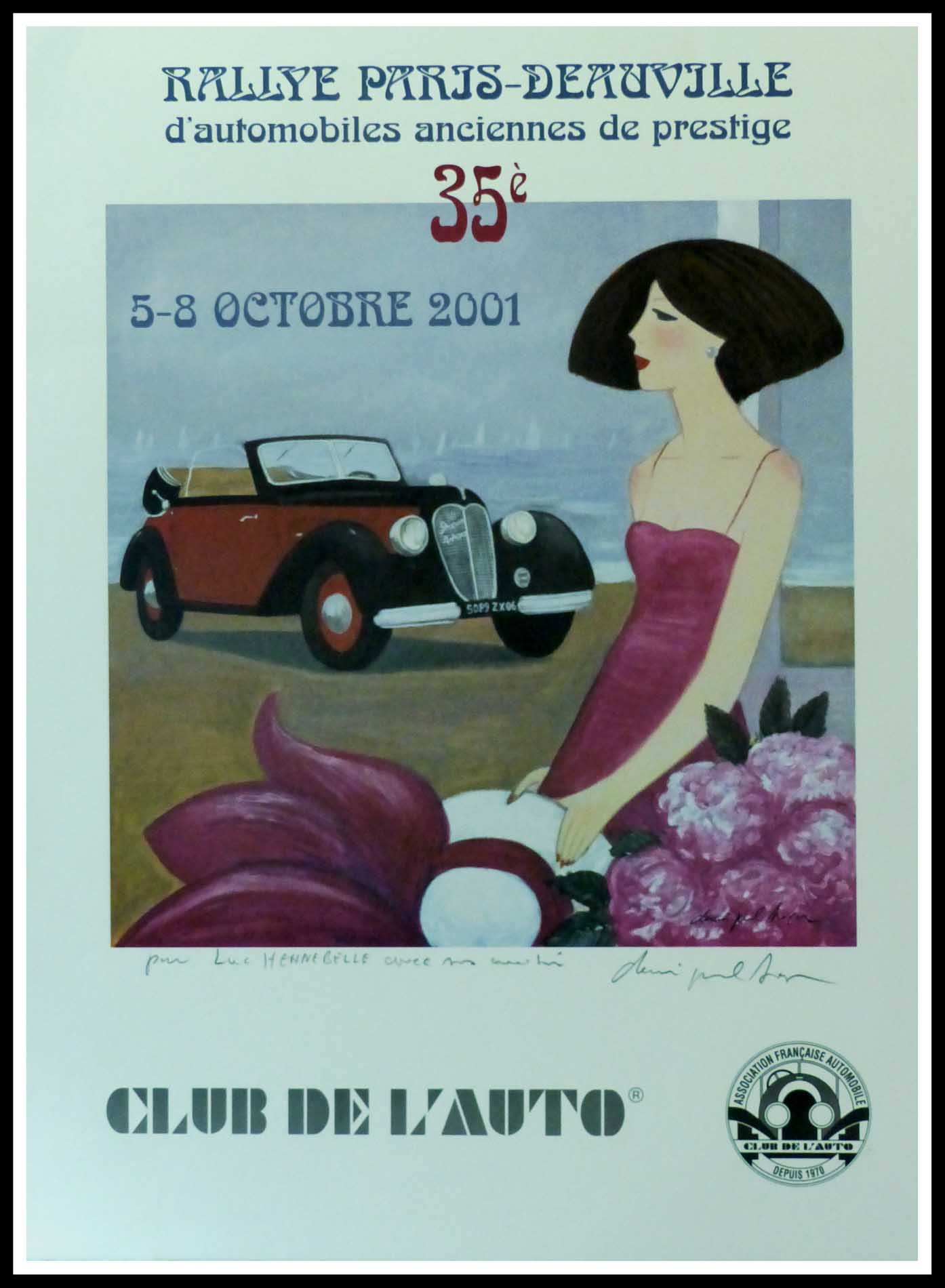"(alt=""Original vintage car poster 35th Paris-Deauville 2001 Club de l'Auto hand-signed in the plate by D.P.Noyer and printed by Club de l'Auto"")"