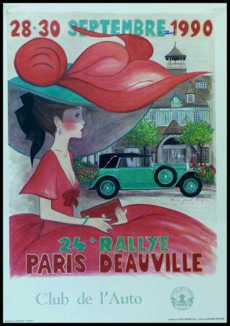 """(alt=""""Affiche originale 24ème Rallye Paris-Deauville 1990 Club de l'Auto signée dans l'affiche par D.P.Noyer et imprimée sur du papier Velin d'Arches par Peugeot,Poissy"""")"""