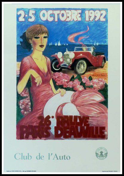 """(alt=""""Affiche originale 26ème Paris-Deauville 1992 Club de l'Auto signée dans la planche par D.P.Noyer et imprimée sur du papier Velin d'Arches par Peugeot,Poissy"""")"""