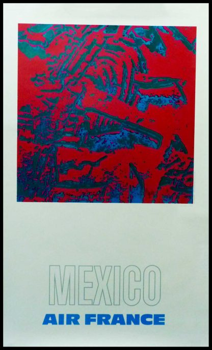 """(Alt=""""original vintage travel poster, AIR FRANCE MEXICO 1971 signed in the plate by Raymond PAGEs and printed by Equi-densités Kodak"""")"""
