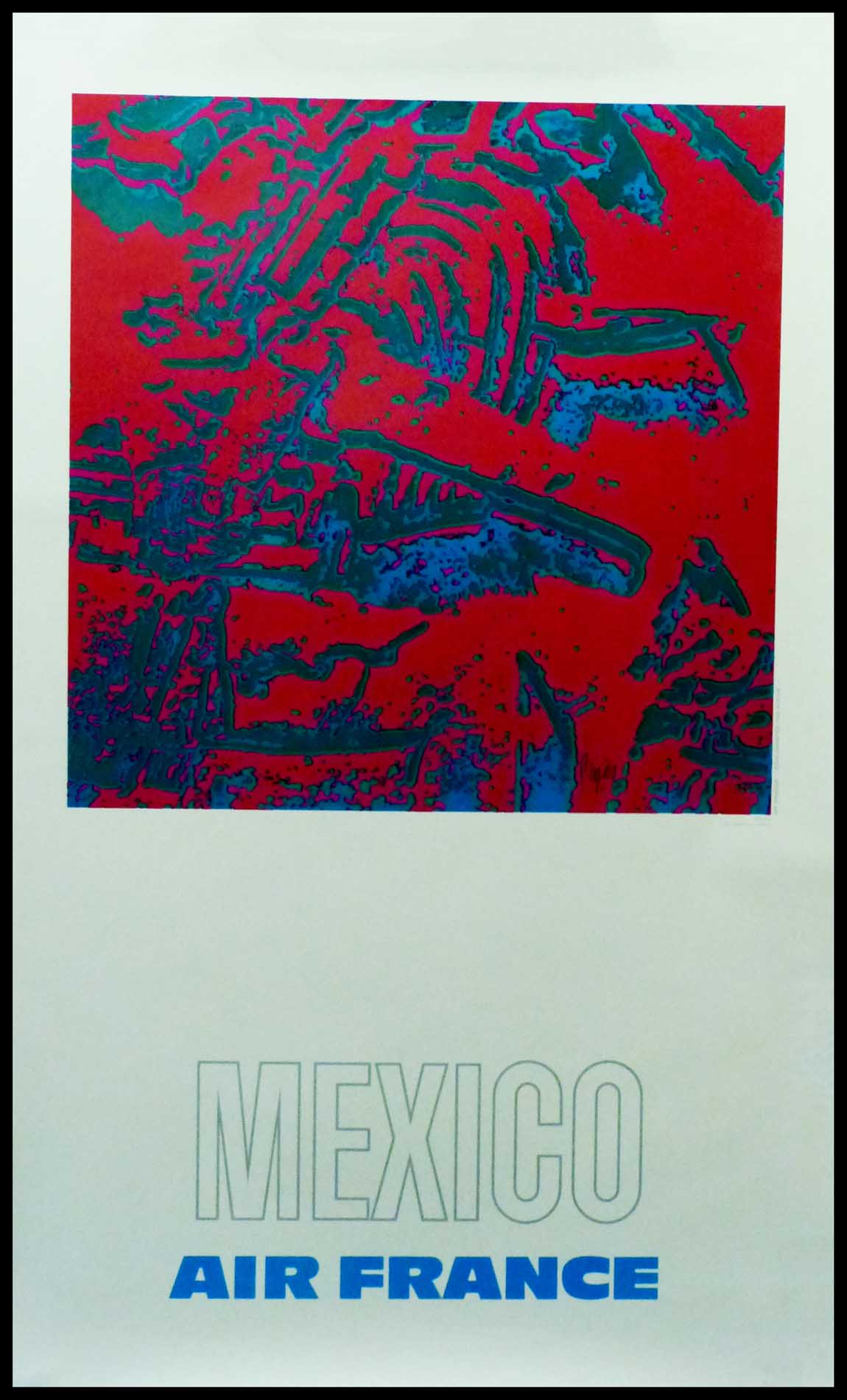 "(Alt=""original vintage travel poster, AIR FRANCE MEXICO 1971 signed in the plate by Raymond PAGEs and printed by Equi-densités Kodak"")"