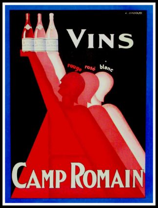 """(alt=""""Affiche publicitaire originale, Vin Camp Romain circa 1925 signée dans la planche par L.GADOUD et imprimée par CAMIS"""")"""