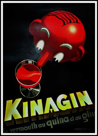 "(alt=""original vintage drink poster, KINAGIN, art deco, E. PATKEVITCH, signed in the plate printed by LAUSANNE"")"