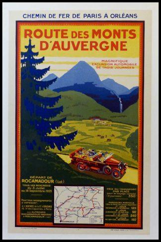 """(alt=""""original vintage travel poster, chemin de Fer de Paris à Orléans, Route des Monts d'Auvergne, printed by CHAIX 1929"""")"""