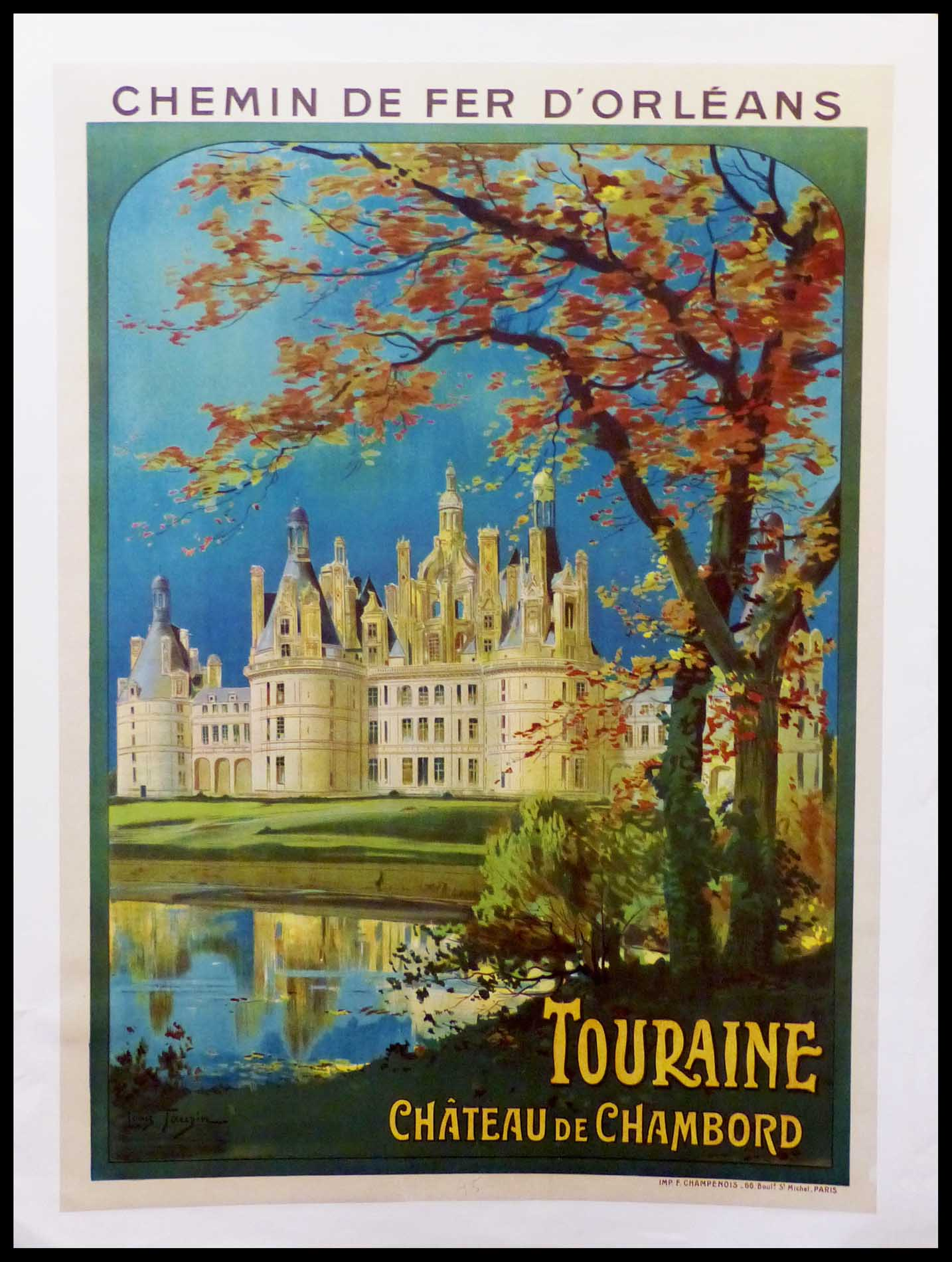 "(alt=""original vintage french travel poster, Touraine Château de CHAMBORD designed by Louis TOUZIN signed in the plate printed by Imprimerie CHAMPENOIS"")"