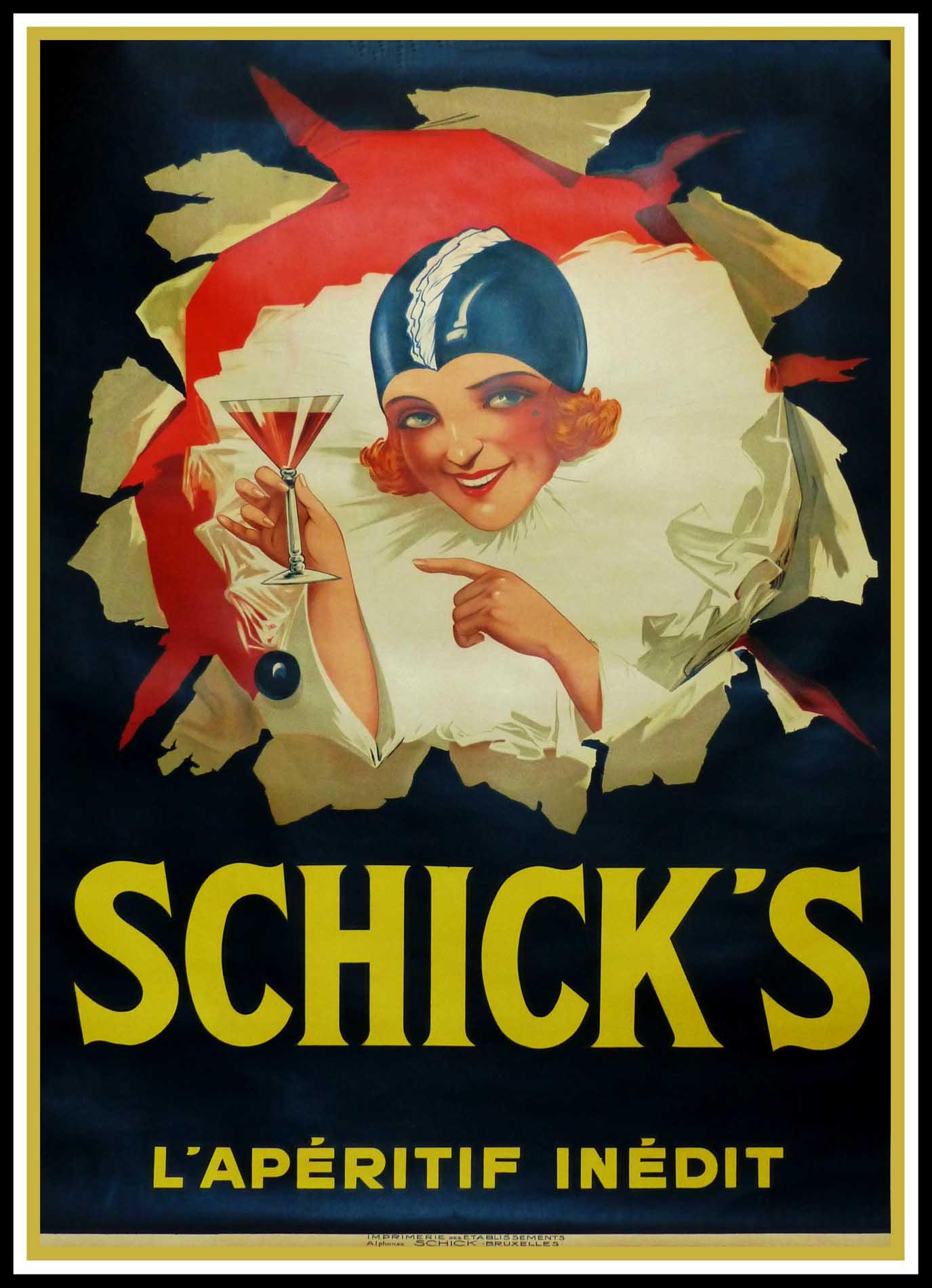 """(alt=""""original vintage poster alcohol SCHICK'S l'apéritif inédit - Anonymous printed by Etablissements SCHICK'S Bruxelles, belgium circa 1925"""")"""