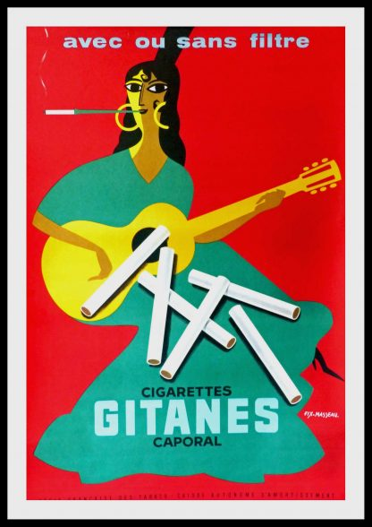"(alt=""original vintage advertising poster, cigarettes gitanes caporal, FIX MASSEAU signed in the plate printed by COURBET 1957"")"