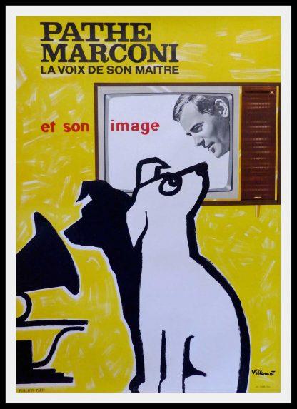 "(alt=""original vintage advertising poster, PATHE MARCONI, signed in the plate VILLEMOT printed by AUSSEL PARIS, 1958"")"