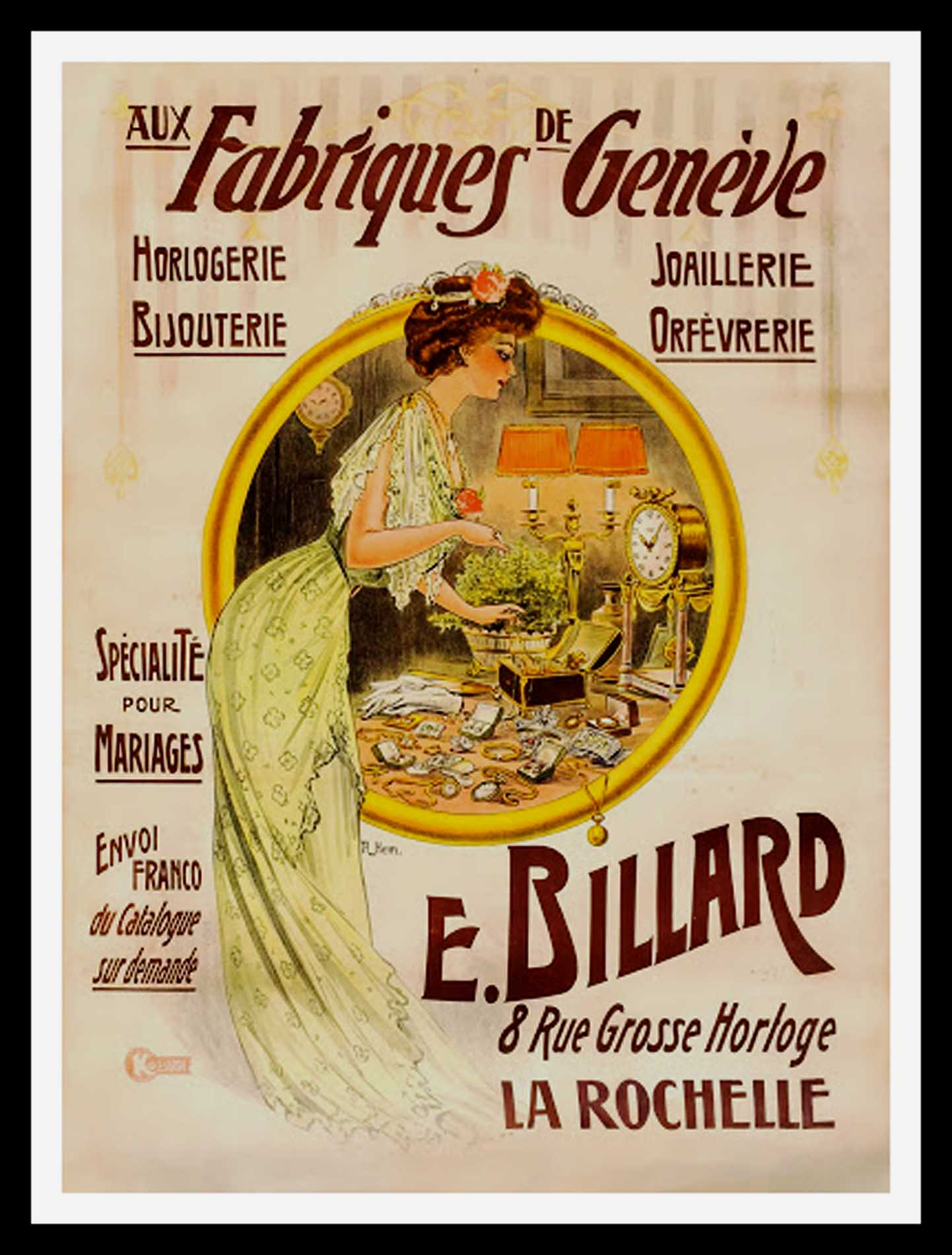 "(alt=""original vintage advertising poster, Aux Fabriques de GENEVE, jewelry, signed in the plate Raoul Edward HEM, 1895, printed by KOSSUTH PARIS"")"