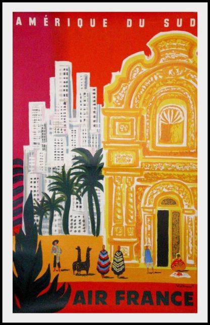 "(alt=""original vintage travel poster, Air France South of America, Bernard VILLEMOT, signed in the plate 1968 printed by Courbet, RARE"")"