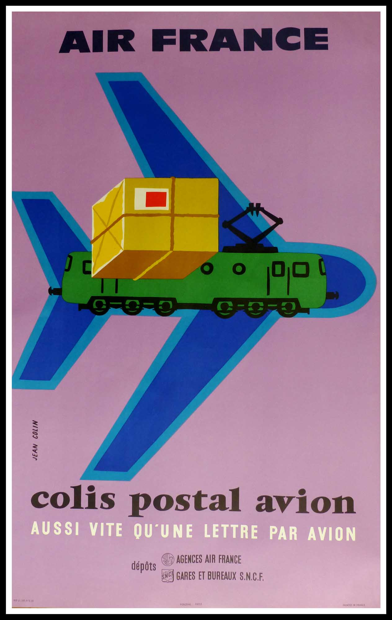 "(alt=""original travel poster Air France, Air france colis postal avion, signed in the plate Jean Colin, 1958, printed by Perceval"")"