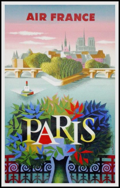 """(alt=""""original vintage travel poster, Air France Paris Notre Dame, Nathan signed in the plate and printed by Courbet 1957"""")"""