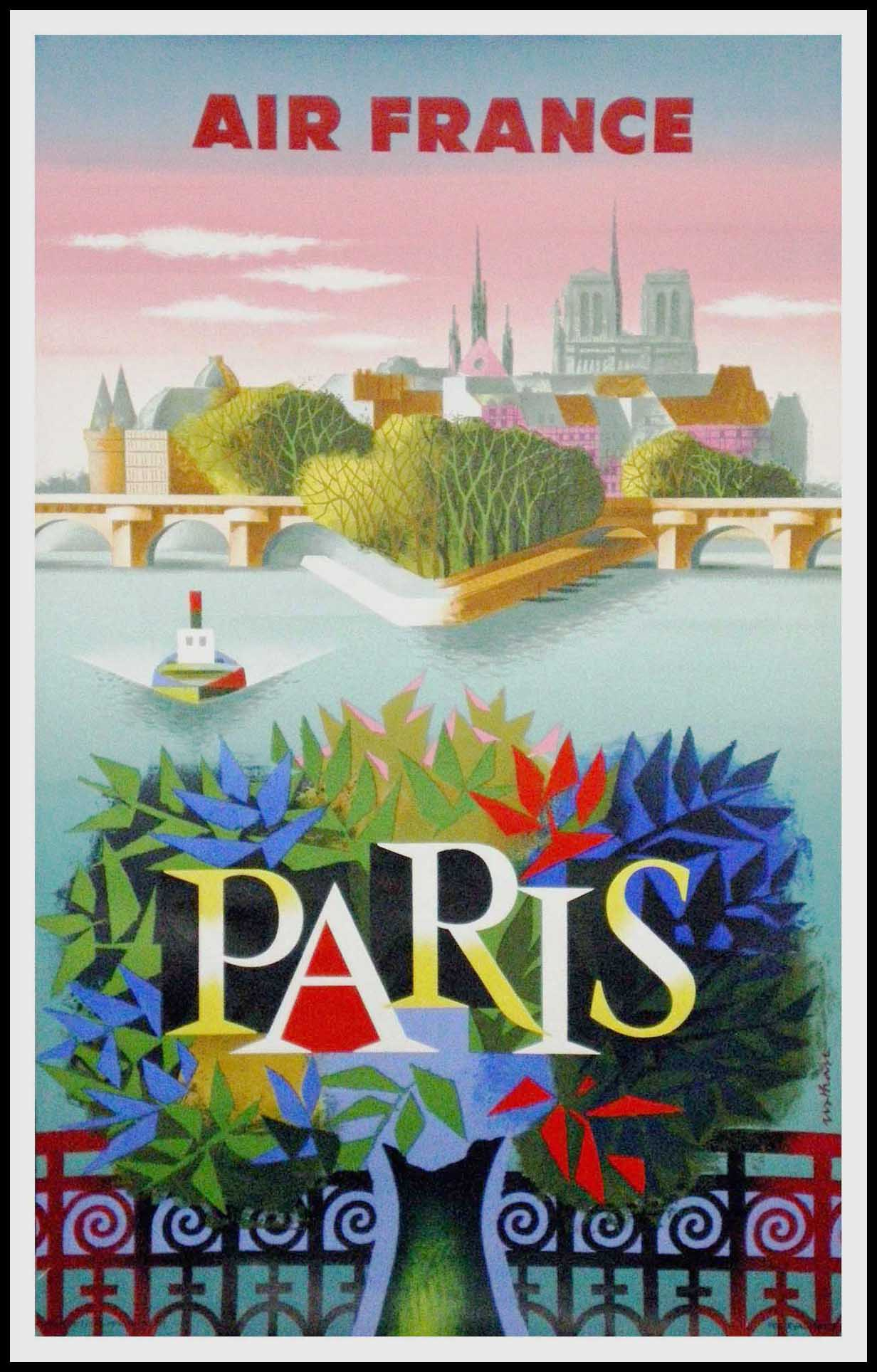 "(alt=""original vintage travel poster, Air France Paris Notre Dame, Nathan signed in the plate and printed by Courbet 1957"")"