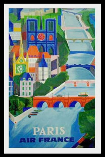 "(alt=""original vintage travel poster, Air France Paris, Notre Dame, Bridge, designed by VERNIER, signed in the plate and printed by Bedos in 1961"")"