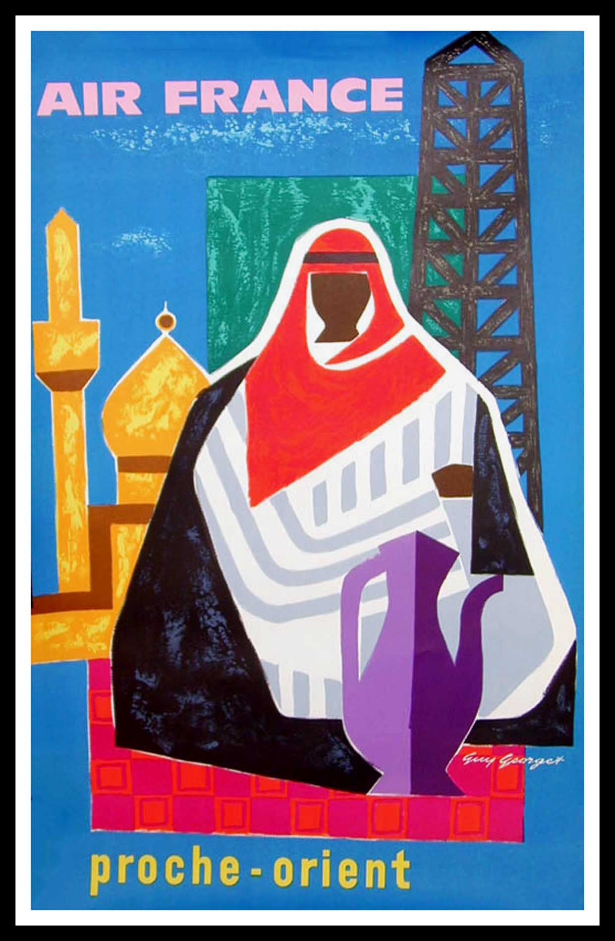 """(alt=""""original vintage travel poster Air France Middle East, signed by Guy Georget 1963 printed by Courbet"""")"""