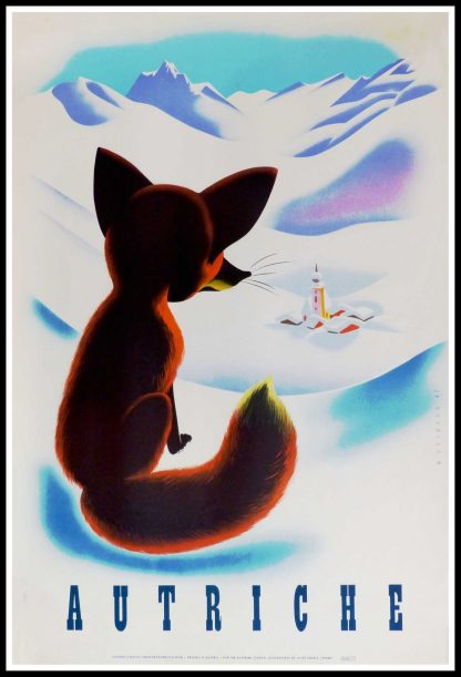 "(alt=""original vintage travel poster, Austria, signed by W. HOFMANN printed by Joseph Eberle Vienne, 1947, rare, ski, mountain"")"