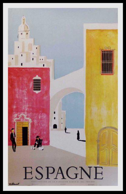 """(alt=""""original vintage travel poster, ESPAGNE, Bernard Villemot signed in the plate and printed by Rieusset Barcelona 1958"""")"""