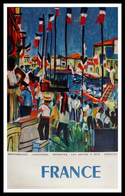 """(alt=""""affiche ancienne originale de voyage FRANCE Méditerranée Les joutes de Sète Languedoc 100 x 62 cm Desnoyer circa 1950"""")"""