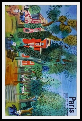 "(alt=""original vintage travel poster, le paddock at Deauville, Raoul DUFY signed in the plate, printed by Mourlot Paris, 1960"")"