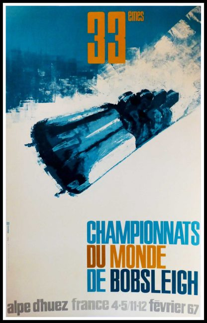 "(alt=""original vintage winter sport poster, 33ème championship bobsleigh, Alpe d'Huez, Mountain, ski, 1966, printed by Printer of Grenoble France"")"