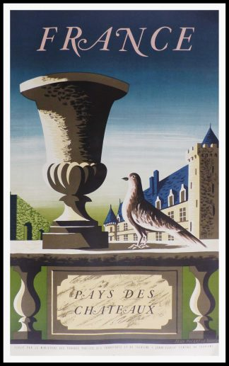 "(alt=""original vintage french travel poster, France country of Castles, signed in the lithography PICART LE DOUX, 1950"")"