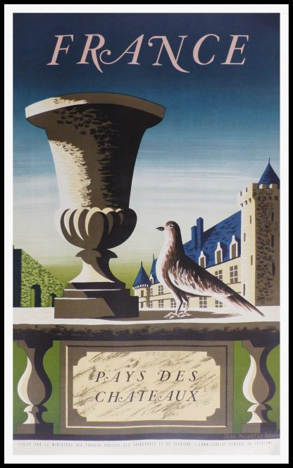 """(alt=""""original vintage french travel poster, France country of Castles, signed in the lithography PICART LE DOUX, 1950"""")"""