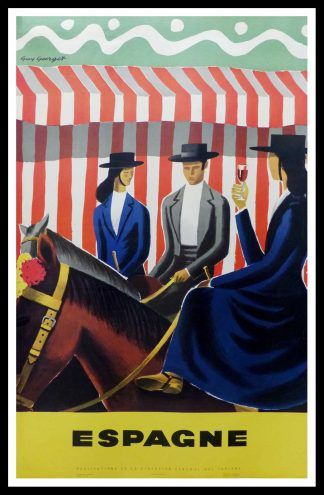 "(alt=""original vintage travel poster, SPAIN, 3 riders horses, signed in the plate Guy GEORGET, 1955"")"
