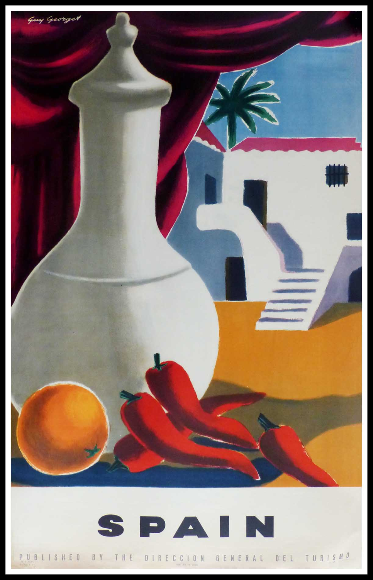 """(alt=""""original vintage travel poster, SPAIN, signed in the plate Guy GEORGET printed by Fournier Vittoria 1951"""")"""