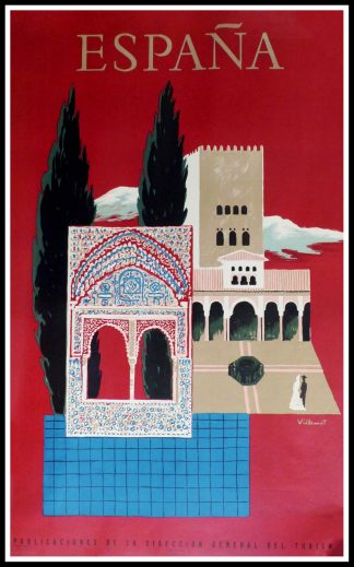 "(alt=""original vintage travel poster, SPAIN Grenade Alhambra, signed in the plate VILLEMOT, 1957 printed by Rieusset Barcelone"")"