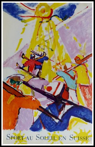 "(alt=""original vintage poster winter sport, sport au soleil Switzerland, signed in the plate Hans FALK 1957"")"