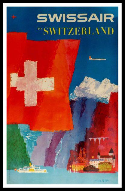 "(alt=""original vintage travel poster, Swiss Air to Switzerland Lac Leman, signed in the plate Fritz BÜHLER printed by Buchdruckerei Winterthur 1958"")"