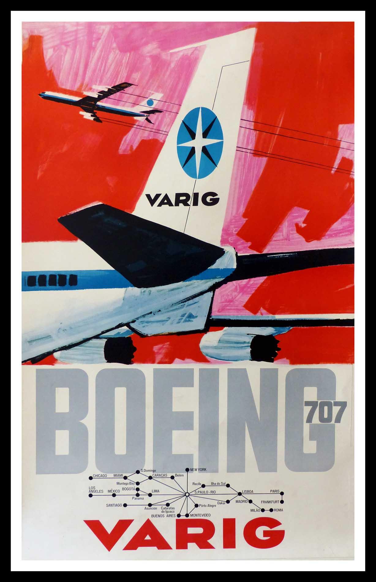 "(alt=""original vintage transportation poster, VARIG Boeing, Paris, New York, Buenos Aires, Brésil, circa 1950"")"