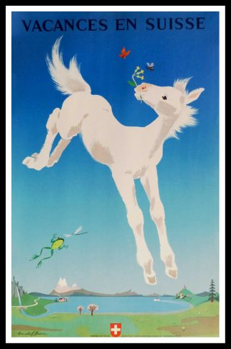 "(alt=""original vintage travel poster Switzerland, Vacances en Suisse, signed in the plate Donald BRUN, printed by Office central Suisse de Tourisme Zürich, 1949"")"