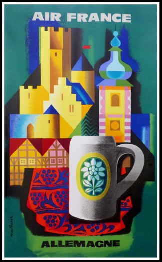 """(alt=""""original vintage travel poster AIR FRANCE ALLEMAGNE 100 x 62 cm condition A+ NATHAN signed in the plate printed by Perceval 1956"""")Paris"""