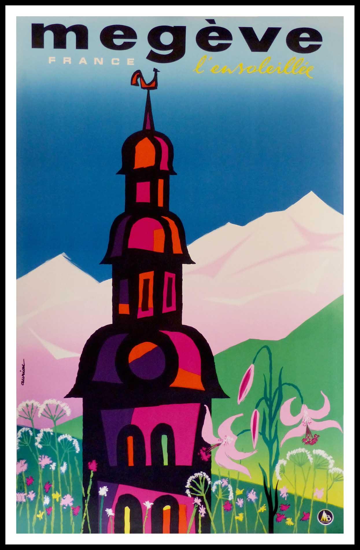 """(alt=""""affiche ancienne originale de voyage, Megève, sport d'hiver, signée dans la planche AURIAC Imp. Ets de la Vasselais"""")"""