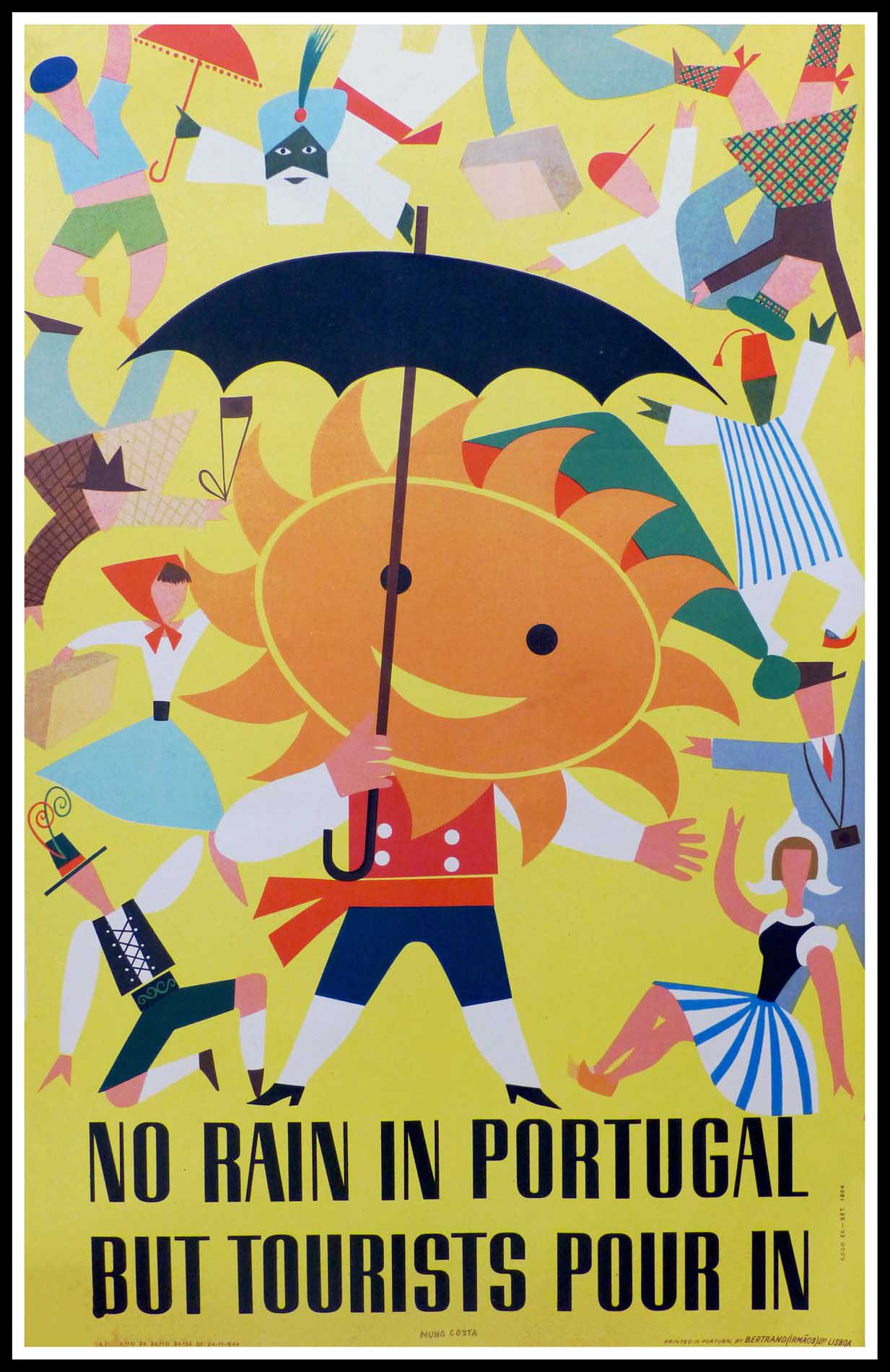 """(alt=""""original vintage travel poster, PORTUGAL, Anonymous, lithograph, printed by Bertrand Irmaos Lisboa, 1954"""")"""