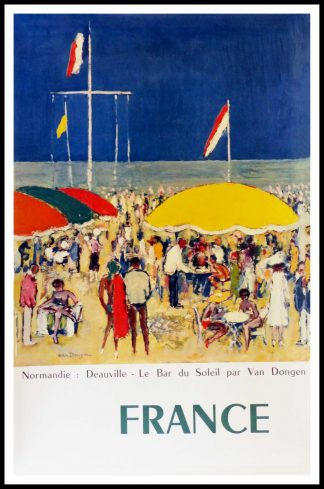 "(alt=""original vintage travel poster, Normandy Deauville, the beach, signed in the plate VAN DONGEN, printed by Braun & Cie, 1960"")"