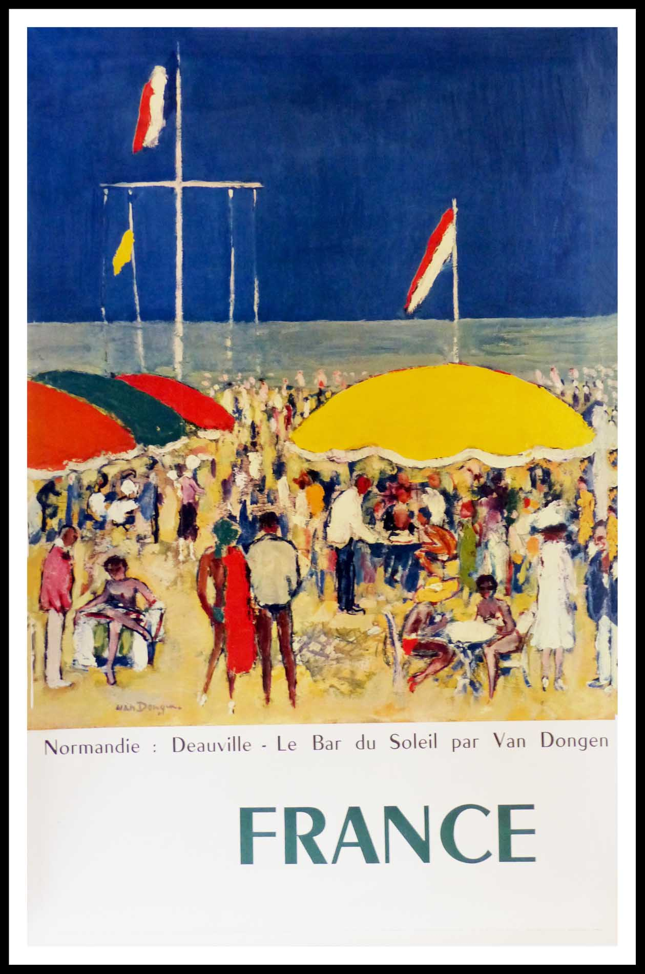 """(alt=""""original vintage travel poster, Normandy Deauville, the beach, signed in the plate VAN DONGEN, printed by Braun & Cie, 1960"""")"""