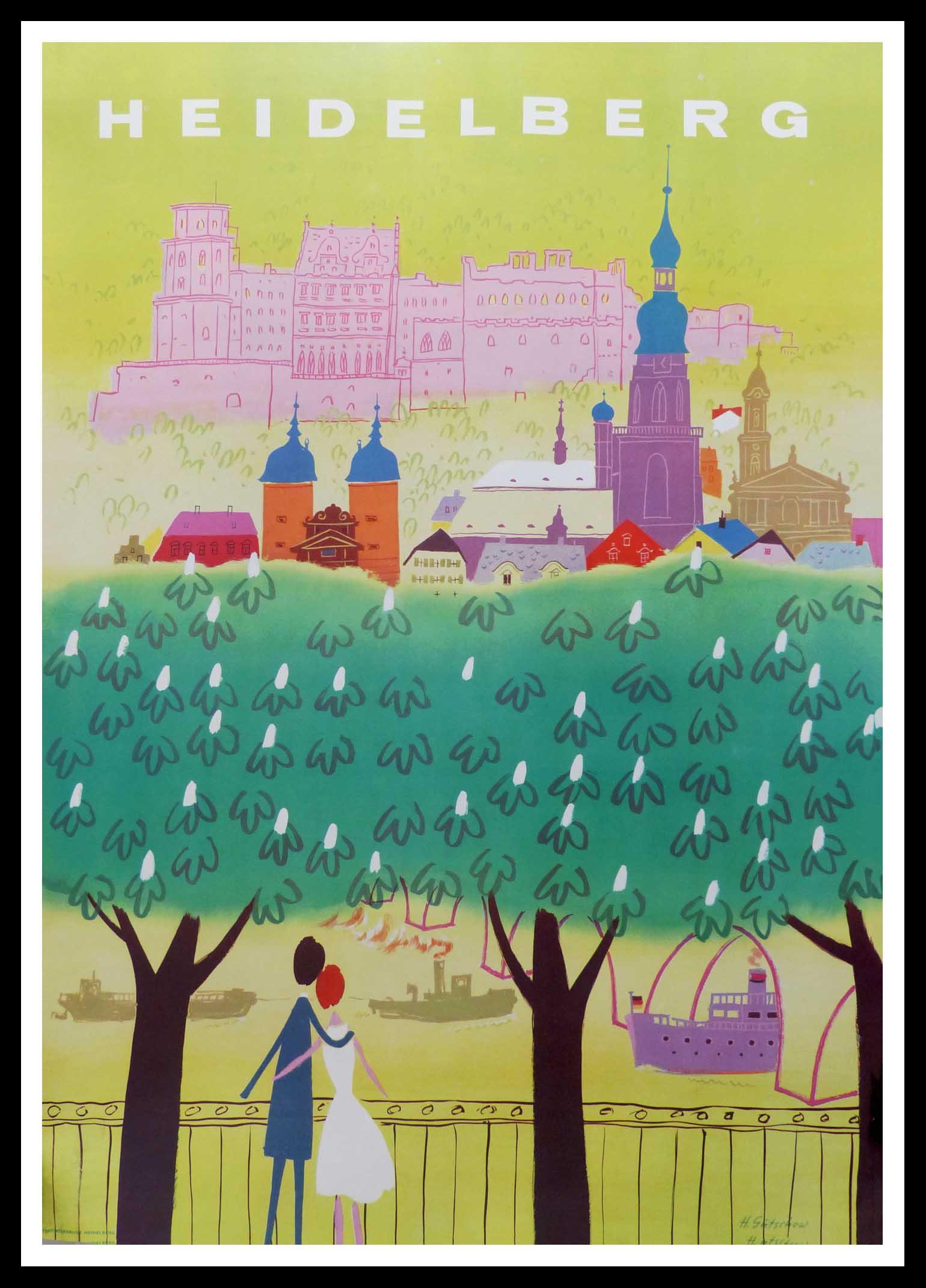 """(alt=""""affiche ancienne originale de voyage, Heidelberg, Allemagne signée dans la planche H. Gütschow, imprimée Winterdruck Heidelberg, circa 1950"""")"""