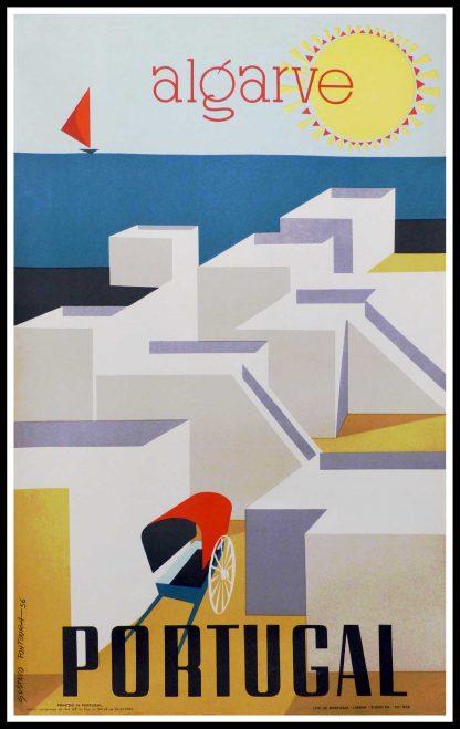 "(alt=""original vintage travel poster, Portugal, Algarve, Faro, signed in the plate Gustavo Fontoura, printed by Lito de Portugal Lisboa 1956"")"