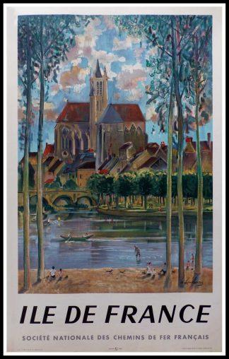 """(alt=""""affiche ancienne originale de voyage, SNCF, Ile de France, signée dans la planche A. Rambourg, imprimée par Editions Paris, 1958"""")"""