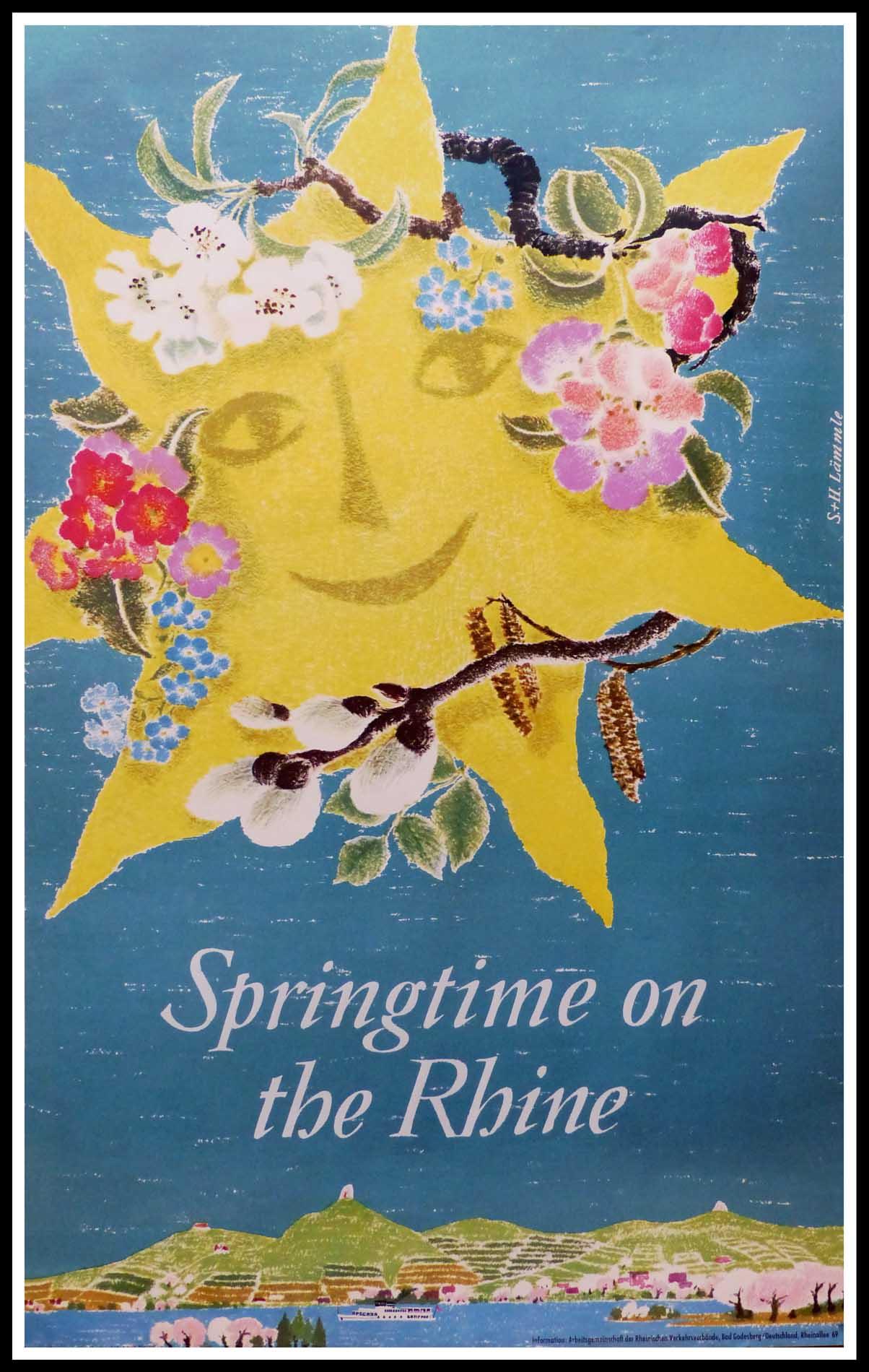 "(alt=""original vintage travel poster, springtime in the Rhine, signed in the plate S. H. LÄMMLE, printed by Druck A. Bagel, Düsseldorf, 1969"")"