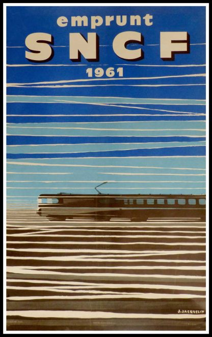 """(alt=""""original vintage travel poster, french railways SNCF signed in the plate J. JACQUELIN printed by Hubert BAILLE 1961"""")"""