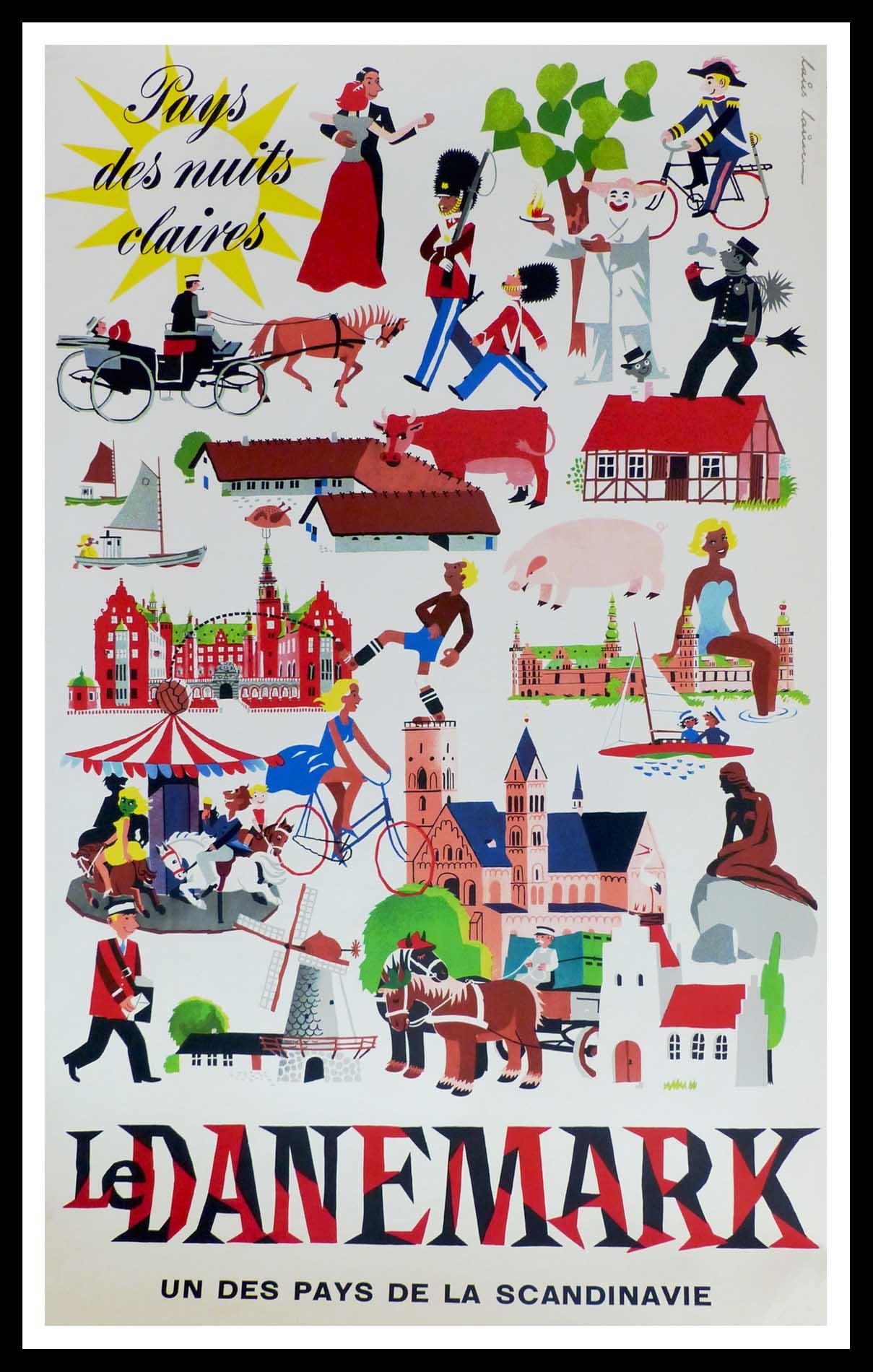"""(alt=""""affiche ancienne originale de voyage, Le Danemark un des pays de la scandinavie, signée dans la planche Laus LAUM 1955"""")"""